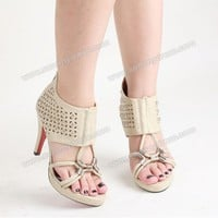 Casual Stiletto Heel Women's Sandals With Rivet and Cross Straps Design