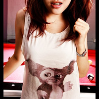 Gremlins Gizmo Shirt Side Boob Crop Top Short Tank Top Antique Off White Free Size