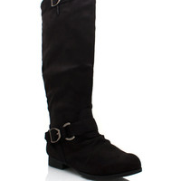 exposed-zip-back-riding-boot BLACK CAMEL WHISKY - GoJane.com