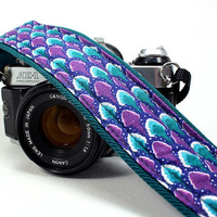 Camera Strap,  Purple, Teal, Turquoise, Silver, , SLR, DSLR