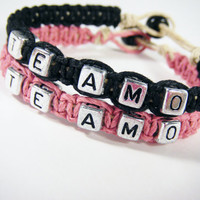 Te Amo Love Bracelets Set of 2 Bracelets for Couples