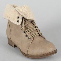 Wanda Shearling Cuff Military Lace Up Boot