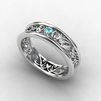 Aquamarine ring, Diamond, white Gold, filigree wedding band, blue, Aquamarine wedding, ring, Gold wedding band, diamond band