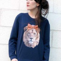 Blue Sweater - Lion Faux Suede Bow Jumper | UsTrendy