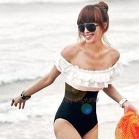2012 New the Style Sexy Bikini Monokini Swimsuit romantic petal edge QA12