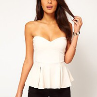 ASOS Strapless Top with Extreme Peplum at asos.com