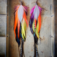 SALE: 15% OFF the ENTIRE shop - Tropicana Long Feather Earrings