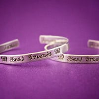 Best Friends - Hand Stamped Aluminum Cuff Bracelet Set - Personalized with Two Names - Other Design Stamps Available in Place of Butterfly