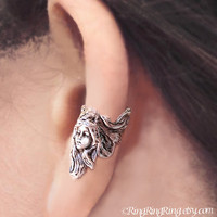 Guardian Angel silver ear cuff earring - non pierced Earcuff jewelry for men and women 110812