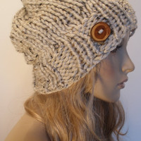 Oatmeal Beige Tan Tweed Specs Slouchy Hand Knit Ribbed Woodsy Beanie Hat With Wood Button