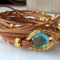Natural Leather Bracelet with Gold Evil Eye and Hamsa Charms