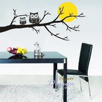 Owl Family On Tree Branch Moon 46inch WRemovable by ccnever