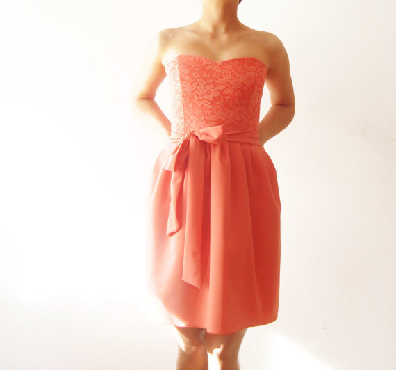 Coral Love - Bridesmaids dress, coral from dhela on Etsy