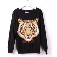 New Women Tiger Bud Head Printed Slouchy Hoody Sweater Fashion Knitwear Jumper