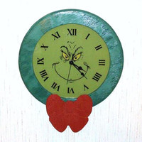 Handmade Christmas Grinch Clock