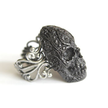 Onyx Sugar Skull Cocktail Ring by mrd74 on Etsy