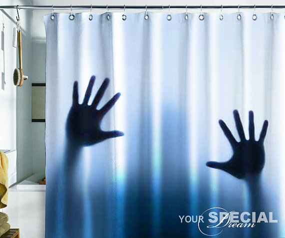 Shower Curtain horror ghost spook Bath from Pulaton on Etsy