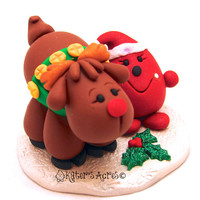 Parker & Rudolf Reindeer StoryBook Scene - Twelve Days of Christmas Polymer Clay Character Sculpted Figurine