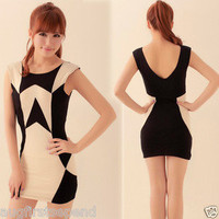 Chic Womens Colorblock Sleeveless Backless Mini Dress Slender Casual Black 4546