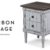 Bourbon Vintage Bedside Table in distressed grey | made.com