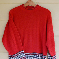 Vintage Red Pull Over Sweater Womens Slouchy Sweater by Precious Knits