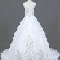 A-line Strapless Chapel Train Taffeta Wedding Dresses With Embroidery Beading Free Shipping