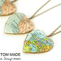 Custom Map Necklace, Large Heart Locket, Personalized, Vintage Locket, Map Locket Jewelry, Choose Your City - Made to Order