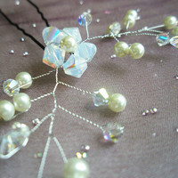 Crystal / Pearl Flower Hair Pin Mini Hair Vine by embellishingyou