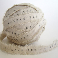 Personalized Ribbon Hand Stamped Handmade linen by TheLonelyHeart