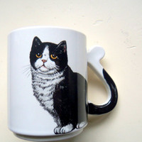Vintage Tuxedo Cat Ceramic Coffee Mug 1980s
