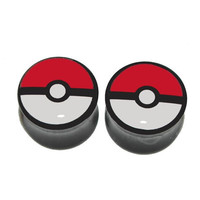 "Pokeball Black Acrylic Plugs - 1 Pair - Sizes 0g, 00g, 1/2"", 9/16"", 5/8"" - Ready to Ship"
