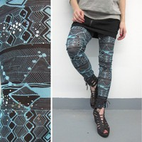 Leggings Aztec Geometric Mesh Leggings S by iheartnorwegianwood