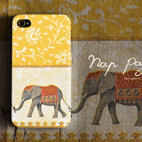 Apple iphone case for iphone iphone 4 iphone 4s iphone 3Gs : Vintage yellow India elephant
