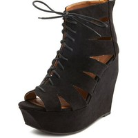 Sueded Architectural Ghillie Wedge: Charlotte Russe