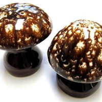 Mushroom Salt and Pepper Shakers Dripware Stoneware Salt n' Pepper