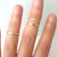 Single-Layering Above the knuckle Hammered Brass Stacking Ring