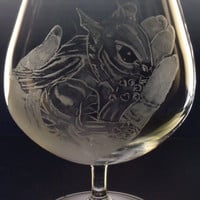 Newborn baby Dragon Brandy Glass , Hand engraved glassware for dining or display OOAK gift christmas holiday