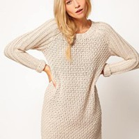 ASOS Textured Stitch Jumper Dress at asos.com