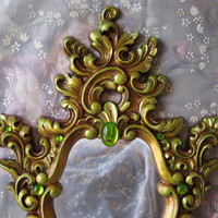 Vintage Green Gold Syroco Accent Mirror Hollywood Regency Chartreuse Gems