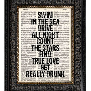 Quote Art Print Life Quote SWIM In THE SEA book page print vintage dictionary art print 8x10