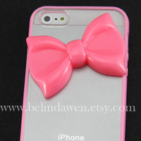 Iphone 5 Case, bow iphone 5 case, pink bow, pink soft Case, bow iphone case