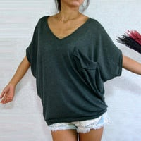 Dark Gray Women Blouse - Oversized Top / V Neck Tee / Ladies T shirt - with pocket / Casual Wide Sleeve Women&#x27;s Top / large medium small