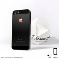 iPhone 5 case, case for iPhone 5, black color with rainbow apple logo S347