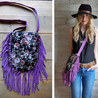 On Sale: Double-sided Fringe Bag - Navajo and Purple Suede