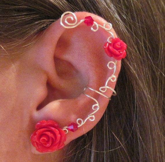 non pierced ear cuff quot roses are quot from wolf and firefly