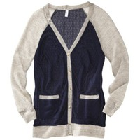 Xhilaration® Juniors Long Sleeve Color Block Cardigan - Assorted Colors