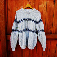 vintage wool blend sweater. by Winona Knits. made in Minnesota. XOXOXO sweater. grandpa sweater