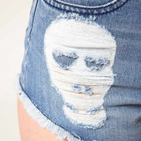 ASOS Skull Patchwork Denim Shorts at asos.com
