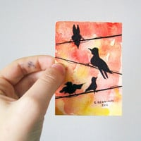 Birds on a wire 2 - Original Watercolor ACEO/ATC