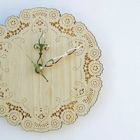 boho bamboo doily clock